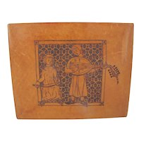 GIULIO GIANNINI Firenze Tooled 2 MUSICIANS on Leather Over Wood Writing Box