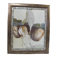BILL PAPAS Framed Abstract Oil Painting of FIGURE on HORSE