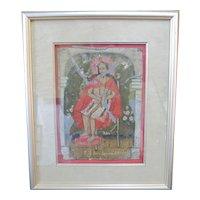Spanish Colonial Style Folk Art Hand Painted Jesus Icon STILL a FAIR JUDGE 1897
