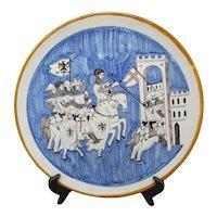 Italian Rampini Gubbio Holy Crusades Hand Painted Battle Scene Charger Plate