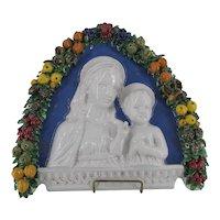 Della Robbia Italian Faience Ware MADONNA & CHRIST w/Arched Garlands Wall Icon