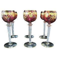 ST LOUIS French MASSENET Gold Red Amethyst Hock Wine GOBLET Air Twist Stem Set