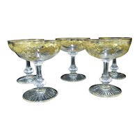 ST LOUIS French MASSENET Gold Encrusted Clear Crystal Champagne Saucer Coupe Set