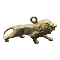 Antique Solid 9ct Yellow Gold Male LION Animal Bracelet Charm