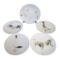 "Italian GUBBIO Hand Painted ANIMAL Theme Decorative 8.25"" Plate Set of 5"