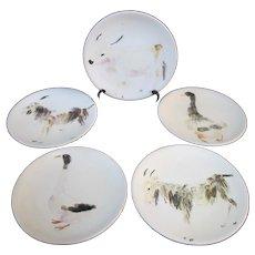 Italian GUBBIO Hand Painted ANIMAL Theme Decorative Plate Set of 6