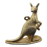 Antique Solid 9ct Yellow Gold KANGAROO with BABY Animal Bracelet Charm