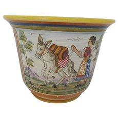 Franco DERUTA Colorful Italian Folk Art Floral MAJOLICA Cache Pot Vase Pottery
