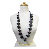 "HAYES LEEKYA Zuni Carved Black Horse Turquoise Feet & Coral FETISH Necklace 36"""