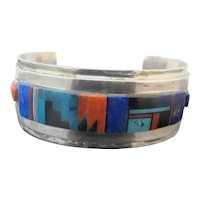 Caroline Tawangyaouma HOPI Native STERLING Silver Multi-Stone CUFF Bracelet