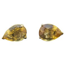 Faceted CITRINE Pear TEAR DROP Shape 14k Yellow Gold Prong Set Post Earrings