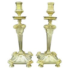 """Exquisite FRENCH 1st Empire Gilt BRONZE Neoclassical 14 1/2"""" Candlestick Pair"""