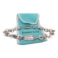 TIFFANY & Co ITALY Sterling Silver Circular Link Bracelet w/ST. FRANCIS Medallion