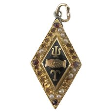 Vintage 10k Yellow Gold PSI TAU Fraternity GARNET Seed Pearl Pendant Charm