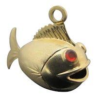 14k Yellow Gold Asian Jeweled Eye PUFFER FISH Bracelet CHARM Pendant