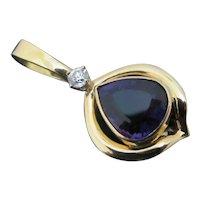 Russian AMETHYST & Diamond 18k Yellow Gold Pear Tear Drop Pendant 9.2gr