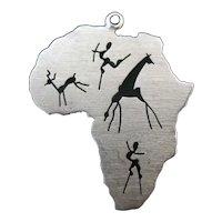 Handmade 14k Yellow Gold AFRICA Charm Pendant w/Pierced Hunter & ANIMALS 2.6gr