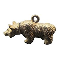 14k Yellow Gold BEAR Charm with TWISTING Movable HEAD 3.4gr