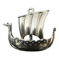 14k Yellow Gold VIKING Sail SHIP Boat Bracelet Charm Pendant 2gr