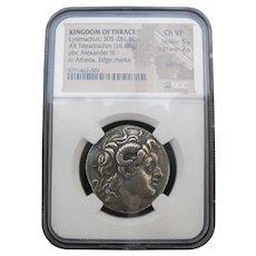 KINGDOM of THRACE Lysimachus 305-281BC Tetradrachm NGC Silver Coin