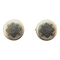 Enamel GREEK Key Design 14k Yellow Gold Post Back Button EARRINGS