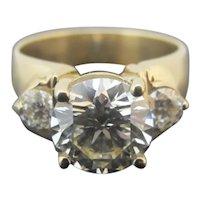 14k Yellow Gold Round BRILLIANT Full Cut 3.61ct DIAMOND Ring Size 9