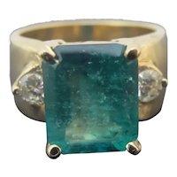 14k Yellow Gold Emerald Step Cut 5.20ct EMERALD & Round Brilliant DIAMOND Ring 9
