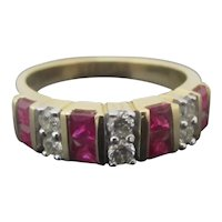 KALLATI 14k Yellow Gold Diamond & RUBY Channel Set Ring Size 7.5