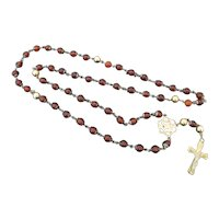 14k Yellow Gold Sterling & AMBER Bead Crucifix Catholic ROSARY Necklace