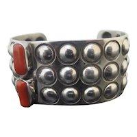 Unique ALEX SANCHEZ Sterling Silver Modernist Style CORAL Navajo Cuff Bracelet