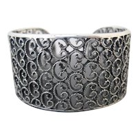 STERLING Silver Wide CLOUD-like Design FILIGREE Chunky Cuff Bracelet