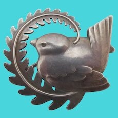 GEORG JENSEN Denmark Sterling Silver BIRD on Leaf Brooch Pin 309