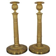 "Exquisite Antique Gilt Brass Neoclassical 11 1/2"" Tall Candlestick Pair"