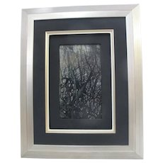 Framed CHINESE Natural DREAM STONE Nature Art - Dark TREES on Smoky Backdrop