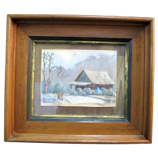 EDWARD K WILLIAMS Signed Framed Winter CABIN in the Woods Figural Oil Painting