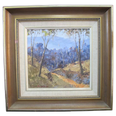 J Colin ANGUS Framed Oil Painting CHILTERN FOREST Mountain Scene Signed 1987