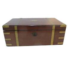 VICTORIAN Wood LAP DESK Writing Scholar Box w/Brass Mounts Name Plate & Key