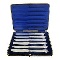 EDWARDIAN Sterling Silver FRUIT KNIFE Set of 6 in Case Allen Darwin Sheffield
