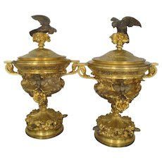 Elaborate Detail Antique 19th Century FRENCH Gilt Bronze Covered URNS Pair