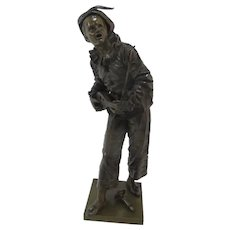 French BRONZE Minstrel JESTER Harlequin with Mandolin Statue by BOURET