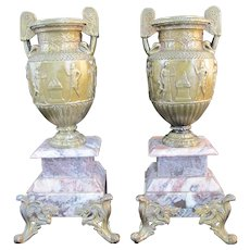 French 3rd Empire Gilt Bronze Urn Pair W/Relief Figures on Pink Marble Stand