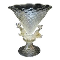 VENETIAN Glass GOLD Flecked Figural DOLPHIN Compote Bowl Attributed to Salviati