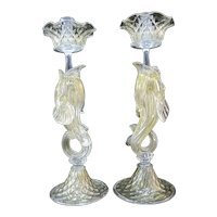 VENETIAN Glass GOLD Flecked Figural DOLPHIN Candle Sticks Holder Pair Attributed To Salviati