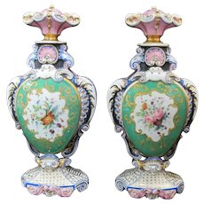 Antique French Porcelain Hand Painted FLORAL Gold Gilt Perfume BOTTLE Pair
