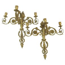 LOUIS XVI Rococo Style Gold GILT Bronze Wall Candle Holder SCONCE Set