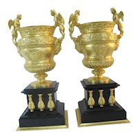 NEOCLASSICAL Urn Vase Set Gilt BRONZE Black Marble w/Greek Satyr & Sphinx Zodiac