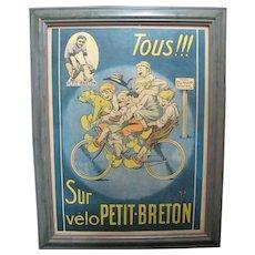 Framed Original Sur Velo PETIT-BRETON Vintage BICYCLE Advertisement 1918 Poster