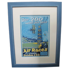 St Louis International AIR RACES Over 200 Miles Per Hour Framed 1923 Poster