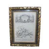 Ornate Gold GILT Framed FRENCH 1864 Decorative Art Design Magazine Illustration