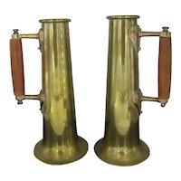 "Antique BRASS Metal 11 1/2"" Beer Mug STEIN Cup Set of 2 with WOOD Handles"
